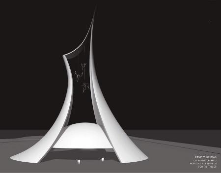 Projeto da nova catedral de Belo Horizonte, assinada por Niemeyer. (Foto: Croqui enviado pela Fundação Niemeyer)