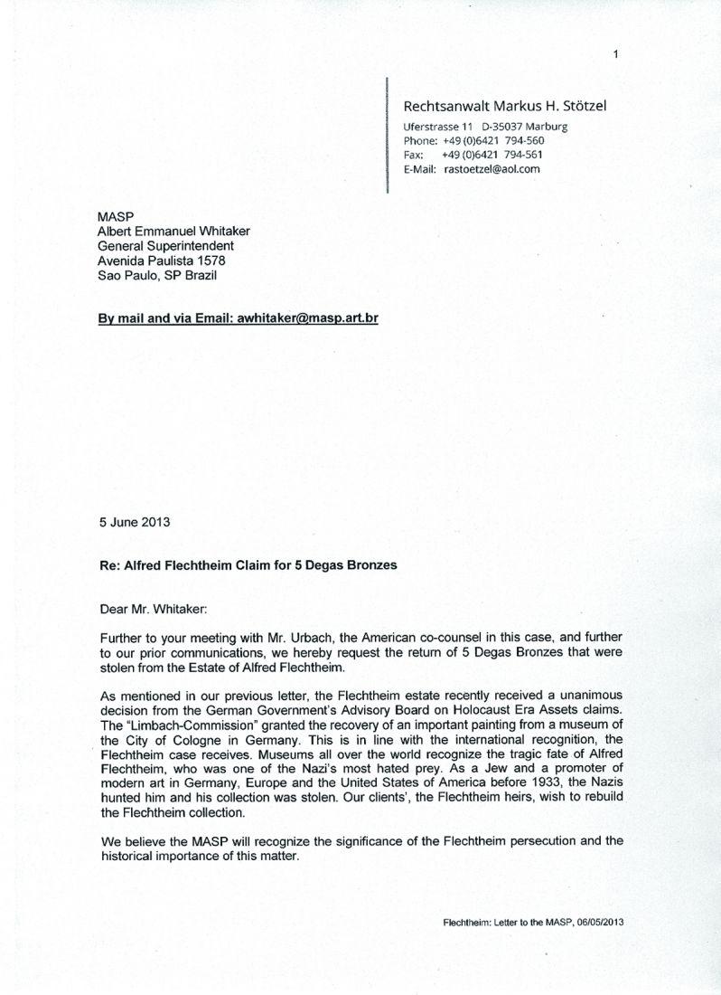 Carta enviada por advogado dos Flechteim ao Masp reclamando esculturas de Edgar Degas, como Bailarina Que se Adianta, com os Braços para o Alto e a Perna Direita Recolhida e Bailarina Vestida, Descansando, com as Mãos nos Quadris e a Perna Direita para a Frente (ambas abaixo)