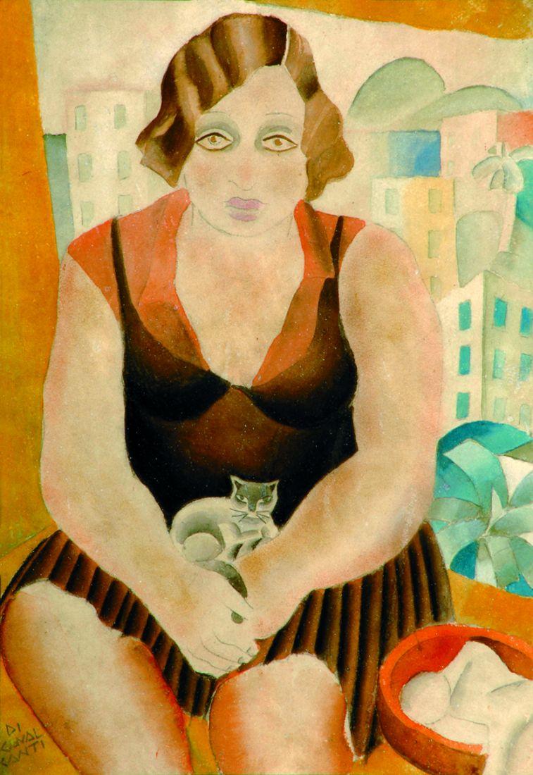 Mulher e gato, aquarela sobre cartão, 1927 (Foto: Divulgação)