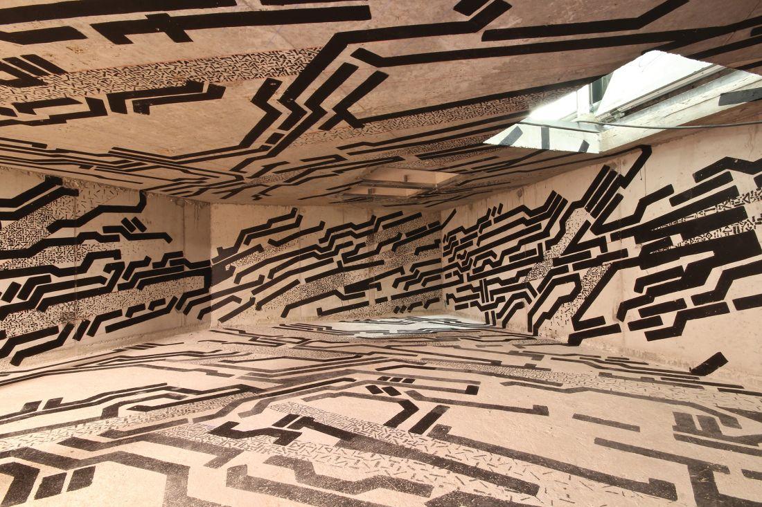 Os franceses Lek & Sowat assinam intervenção na terceira edição de Lasco Projects, curadoria de Hugo Vitrina que ocupa espaços inusitados da instituição parisiense (Foto: Aurélien Mole/Palais de Tokyo)