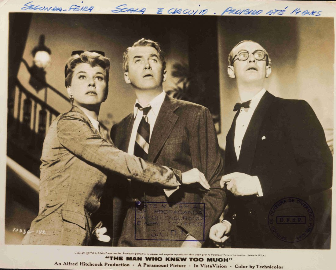 Material de divulgação do filme O Homem Que Sabia Demais (1955), de Alfred Hitchcock, da coleção de Salvyano Cavalcanti