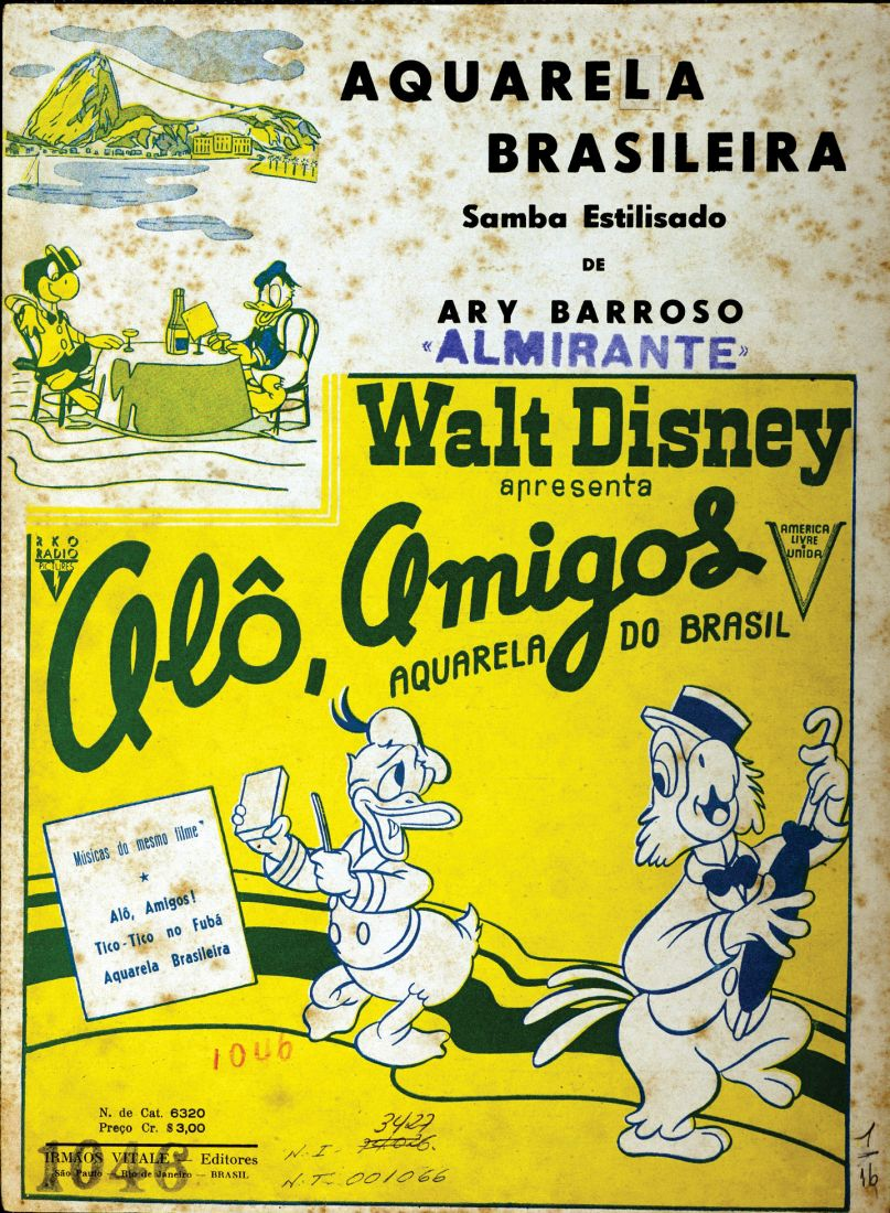 Capa da partitura de Aquarela Brasileira (que depois se chamou Aquarela do Brasil), de Ary Barroso, com carimbo de Almirante
