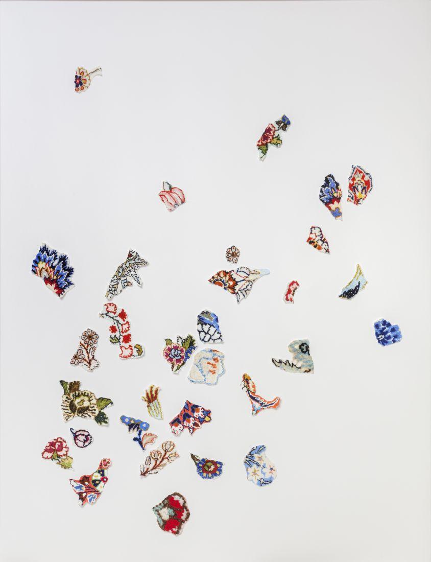 Colagens da série Tapeçarias, de Laura Belém