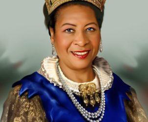 Caracterização de Tarcília da Silva como rainha, por Mestre Júlio Santos