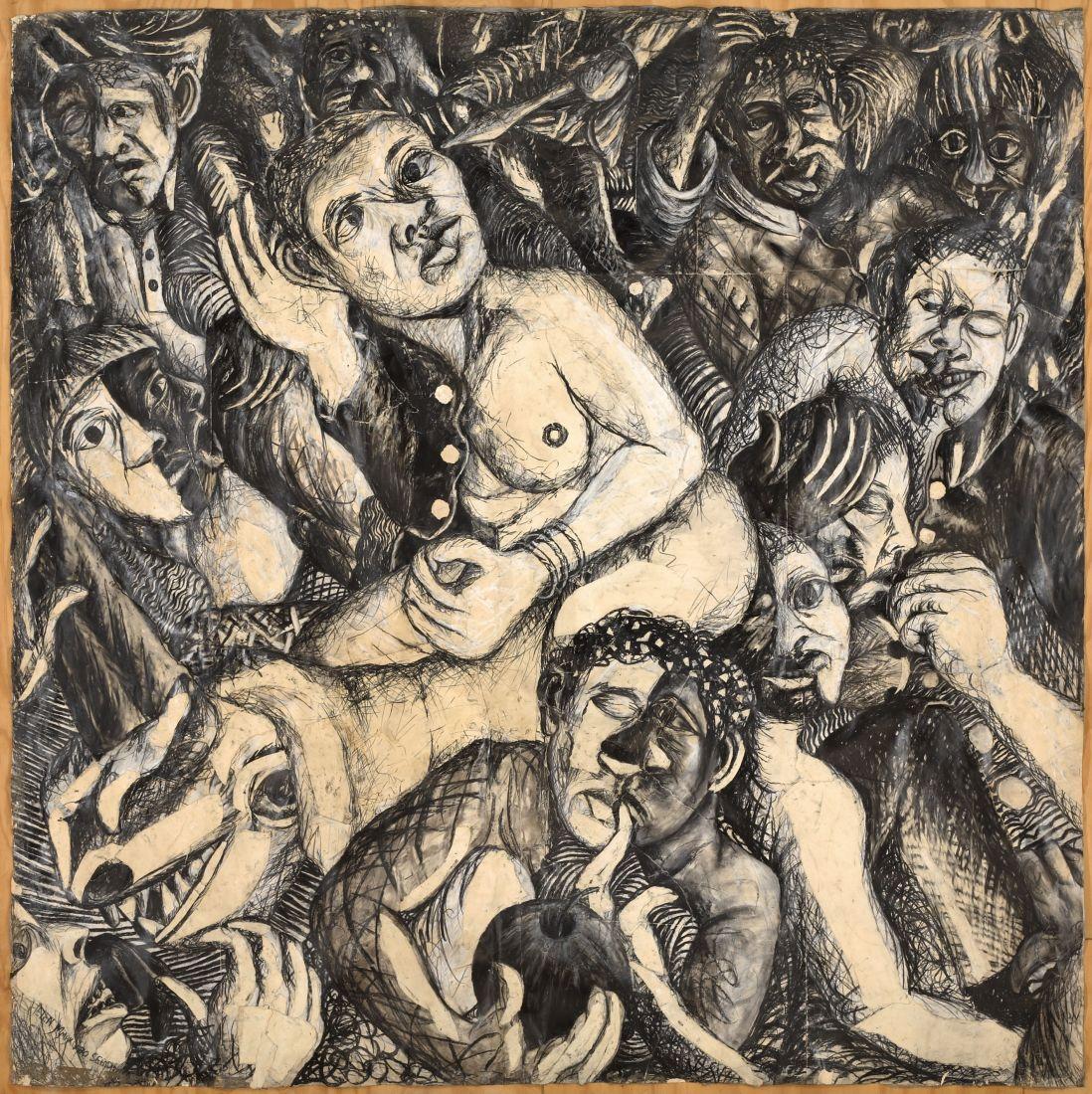 Painel Lágrimas da África, de Helen Sebidi, considerada matriz de toda a produção da artista; ela veio a Salvador para pensar a diáspora africana no Brasil e fazer nova pintura (Foto: Divulgação/ 32ª Bienal de São Paulo)