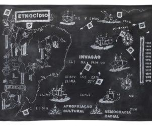 Terra Brasilis: Invasão, Etnocídio e Procriação Cultural (2015), de Jaime Lauriano, é desenho feito com giz utilizado em rituais de Umbanda (Foto: Filipe Berndt)