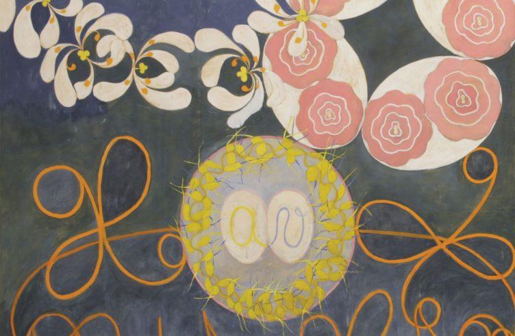 As Dez Maiores, nº1, Infância, Grupo IV (1907), primeira de série de pinturas abstratas que propõe estudo visual das idades do homem, vistas sob uma perspectiva espiritual (Foto: Jerry Hartman-Jones/ Cortesia Serpentine Gallery, Londres)