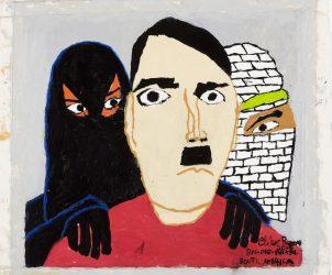 Fürher e o Califado do Terror (2015), pintura de Cleber Ramos, na 13ª Bienal Naïfs do Brasil (Foto: Divulgação)