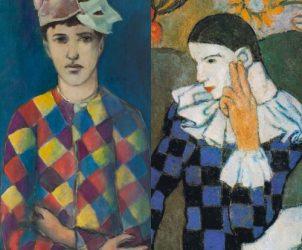 À esquerda, falso Picasso realizado por Elmyr de Hory, um dos falsificadores de obras de arte mais prolíficos do mundo. Do lado direito, o arlequim original do pintor espanhol (Fotos: Coleção MACE, Ajuntament d'Eivissa / Divulgação)