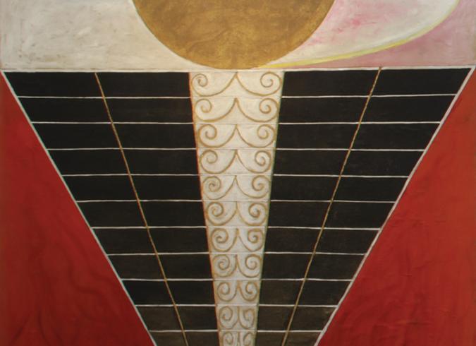 Peça de Altar nº2 (1915), pintadas em óleo e folhas de metal para templo ainda não construído (Foto: Jerry Hartman-Jones/ Cortesia Serpentine Gallery, Londres)