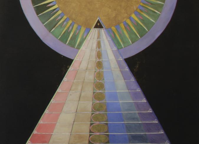 Peça de Altar nº1 (1915), pintadas em óleo e folhas de metal para templo ainda não construído (Foto: Jerry Hartman-Jones/ Cortesia Serpentine Gallery, Londres)