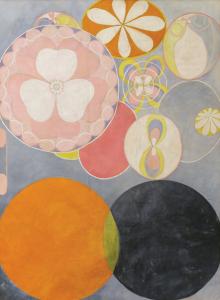 as Dez maiores, nº2, Infância, Grupo IV (1907), representação da primeira idade do homem na forma de esferas e espirais eufóricas (Foto: Jerry Hartman-Jones/ Cortesia Serpentine Gallery, Londres)