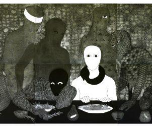 A Ceia (1991) não teria por que estar inspirada na famosa cena bíblica, mas seria originada em qualquer reunião ou refeição caseira (Foto: Michel Pou/ Cortesia Estate Belkis Ayón)