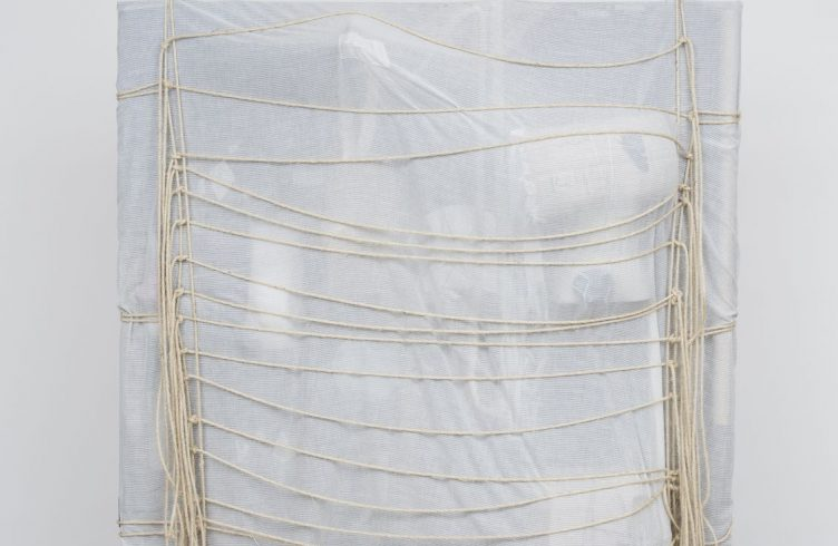 Sem Título (2015), da série Ágrafo, que esconde material secreto sob tecido branco semitransparente e cordas (Foto: Edouard Fraipont/ Cortesia Galeria Luisa Strina)