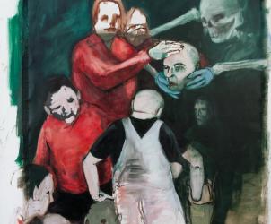 Aparição (Manifestation, 2016) é exemplo da iconografia sui generis do artista, que reincorpora o delírio à situações aparentemente banais (Foto: Eduardo Berliner)