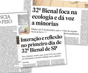 Manchetes de jornais nacionais sobre a 32ª Bienal de São Paulo (Fotos: Reprodução)