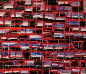 Detalhe de Projeto gráfico de tecido para a XI Trienal de Milão, 1957, de Ettore Sottsass (Foto: Fondazione Massimo/ Sonia Cirulli)