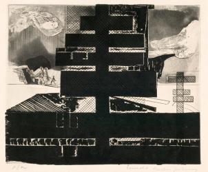 Mudança Para um Bairro Distante (1967), gravura de Evandro Carlos Jardim em exposição no MAC-USP (Foto: MAC-USP)