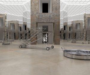 Exit III com Parede Niemeyer (Estação Luz), de Ana Maria Tavares, no octógono da Pinacoteca (Foto: Modelação digital do projeto para intervenção)