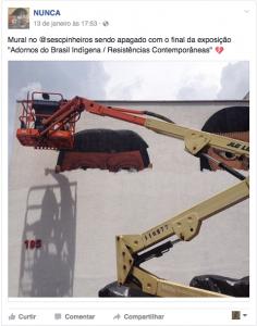 O grafiteiro NUNCA posta imagem de seu mural sendo apagado após exposição no Sesc Pinheiros (Foto: Reprodução)