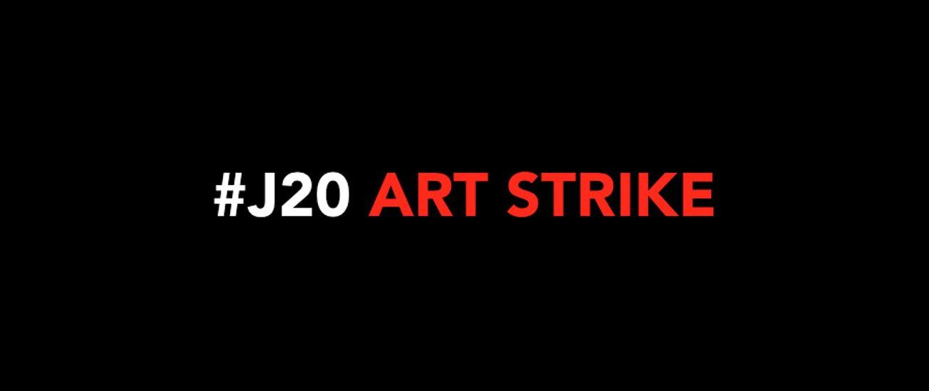 Cartaz do movimento #J20 Art Strike (Imagem: Reprodução)