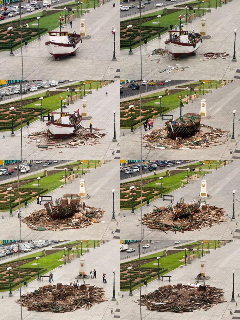 Imagens que registram o trabalho Ordem e Progresso, quando realizado em 2012, no Paseo de Los Héroes Navales, em Lima, Peru (Foto: Cortesia do artista)
