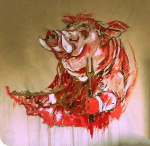 Pintura de Omar Castañeda, feita a partir de sangue de porco, que integra a instalação Ópera dos Porcos de Simone Mattar