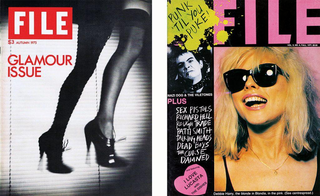Edição Glamour (1975) e volume 3, número 4 (1977), da revista FILE, de General Idea